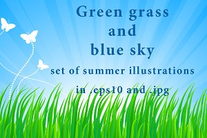Green grass and blue sky: summer set