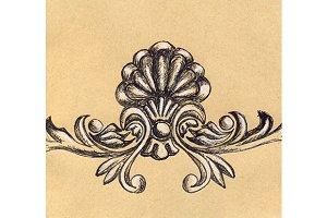 Vintage floral stucco sketched art