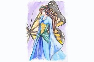 Fantasy girl in dress and butterfly