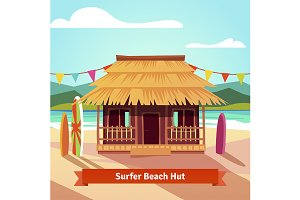 Surfers lagoon beach hut
