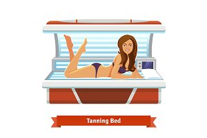 Young pretty woman in tanning bed