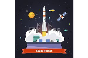 Rocket launch from spaceport pad