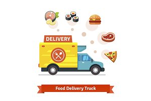 Food delivery truck with meal icons