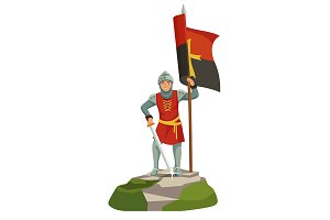 Foot knights templar banner bearer