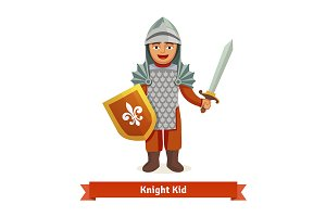 Cheerful kid in knights armour