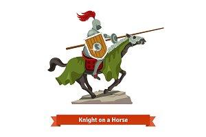 Medieval knight riding on a horse