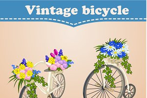 Two bicycles with flowers