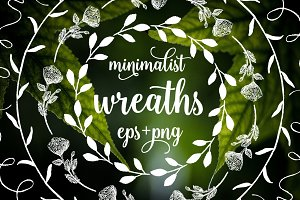 Minimalist botanical wreaths set