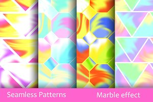 Seamless Patterns. Marble effect.