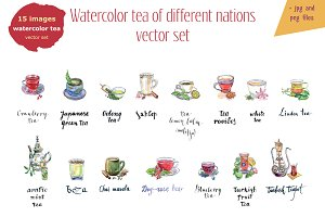 Watercolor tea-3 vector set