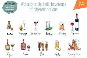 Watercolor alcohol-2 vector set