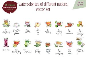 Watercolor tea-2 vector set