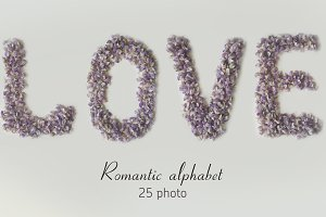 Romantic floral alphabet from photo