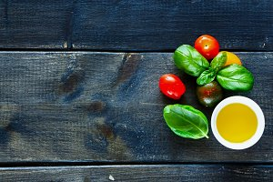 Tomatoes, basil and oil