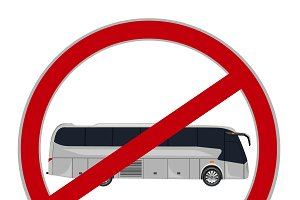 no bus sign, vector illustration