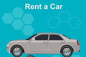 Rent a car concept, vector