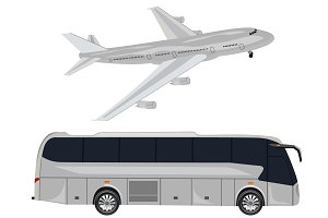 travel transport, bus, car, airplane