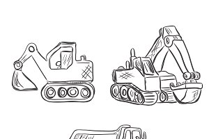 Excavator, construction, lorry