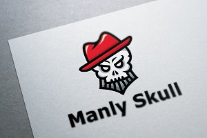 Skull with Hat Logo Template