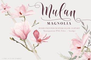 Watercolor Magnolia Floral Clipart