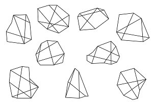 set of 9 polygon shapes