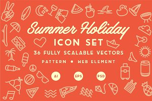 Summer Holiday Icon Set & Pattern