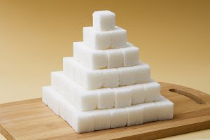 Sugar cubes pyramid