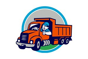 Dump Truck Driver Thumbs Up Circle