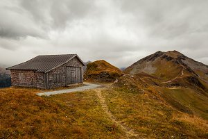Wooden shack in the mountains