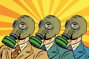 People in gas masks Sots art style