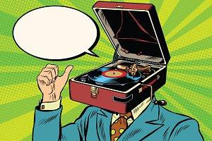 Retro lover music man gramophone