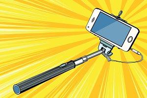 Selfie stick smartphone shooting