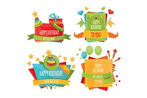 Set of colorful birthday banners