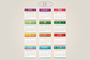 brightness colorful calendar 2017