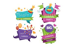 Set of colorful party labels