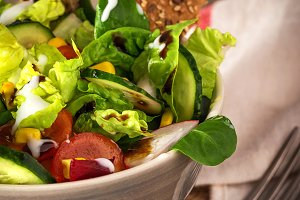 Close-up of fresh salad in bowl