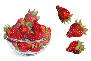 Watercolor strawberry in glass bowl