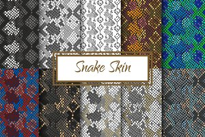Snake Skin seamless pattern set