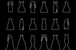Dresses line icons