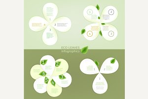 Paper Leaves Infographic Elements