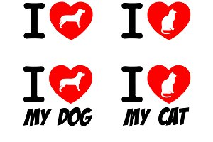 I Love Dog and Cat Signs Collection