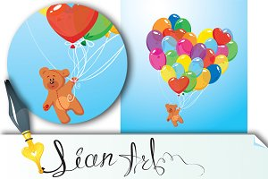 Image with balloons and bear