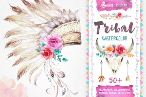 Tribal. Watercolor collection