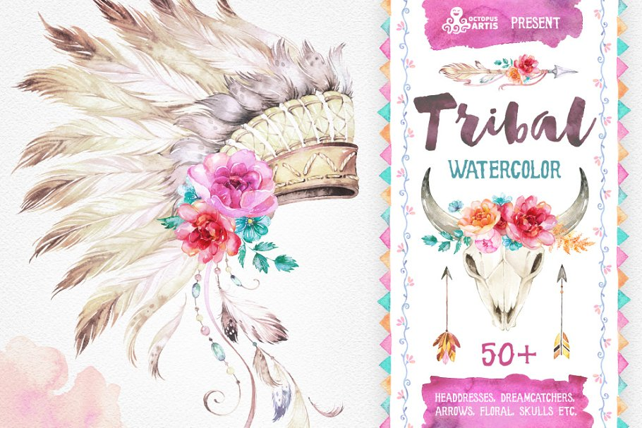 bf9dc1c2d Tribal. Watercolor collection ~ Illustrations ~ Creative Market
