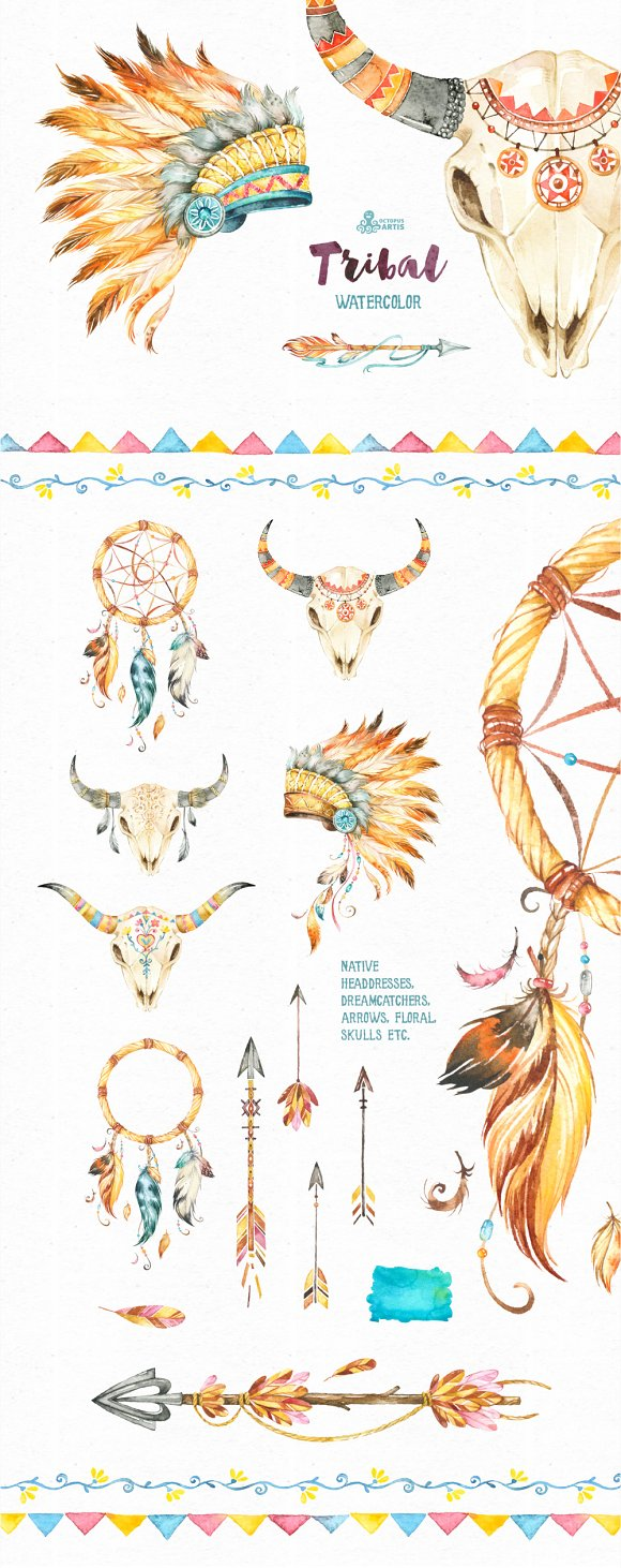 bfe619d866b5b Tribal. Watercolor collection ~ Illustrations ~ Creative Market