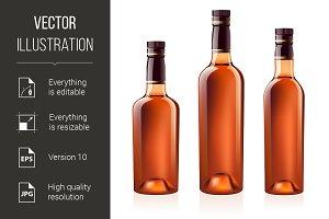 Bottles of cognac (brandy). Vector i
