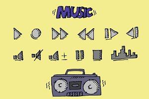Music button doodle set. Vector