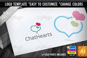 Talk Bubbles Hearts Social Chat Logo