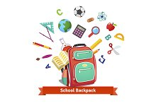 School backpack with objects