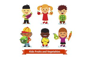 Kids holding fruit and vegetables
